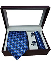 Riyasat - Self Design Blue Color Micro Fibre Men,s Tie, Cufflink and Pocket Square Gift Set .(S_089)