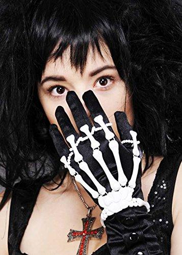 Bracelet gothique blanc main squelette Halloween