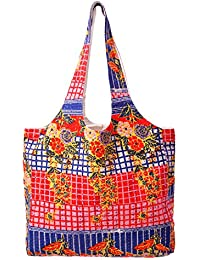 Cotton Floral Printed Women's Hand Bag Kantha Quilted Shoulder Shopping Tote Beach Bag Tote Bag By Handicraft-Palace