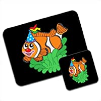 Mousematt pesce pagliaccio con maschera da clown Premium & Coaster Set