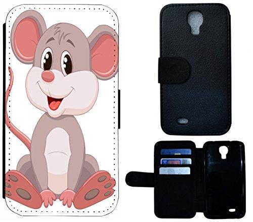 Flip Cover Schutz Hülle Handy Tasche Etui Case für (Apple iPhone 5 / 5s, 1452 Eifelturm Paris Frankreich Seine) 1457 Maus Cartoon Grau
