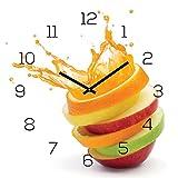 levandeo Wanduhr Glas 30x30cm Uhr Glasbild Orange Apfel Wasser Frucht Fruit Wanddeko Küchenuhr