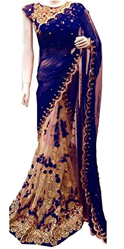 Jhtex Fashion Women\'s Clothing Blue Net&Georgette Sarees Diwali Special Saree (GNBlue_Blue52)