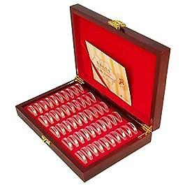 Cassa rotonda per monete in legno,portaoggetti per contenitore commemorativo per monete Display Scat