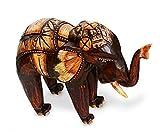 Deko Figur Elefant Bumbo stehend aus Albesia Holz braun, Höhe 15 cm groß, Holzfigur Krafttier im Afrika Stil Kunsthandwerk aus Bali handgefertigt, Größe:15 cm