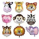 Juland 9 PC Testa di Animale Palloncini di Alluminio Palloncini Animali giganti Set Galleggiante di Palloncini di Animali Selvatici per la Festa di Compleanno Baby Shower Forniture per la Decorazione