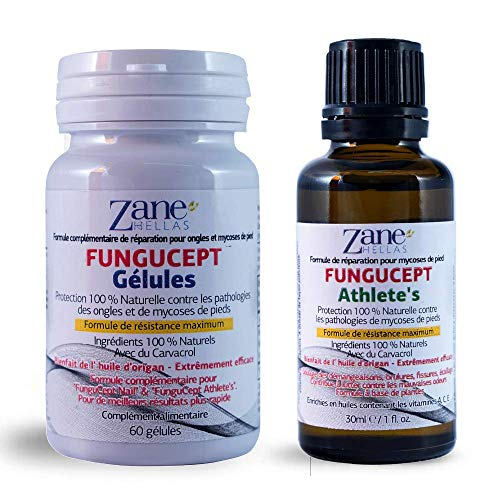 FunguCept Advanced Repair Solution. Formule de réparation améliorée. 100% naturel. Pour des résultats plus rapides et meilleurs. 1 oz - 30 ml de produit pour pieds d'athlète, avec 60 gélules.