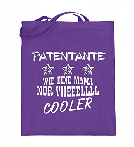 Hochwertiger Jutebeutel (mit langen Henkeln) - Patentante viieeellll COOLER Violett