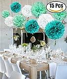 15pcs papier fleur pompon boule à suspendre 8',10',12' rose décor mariage fête Champagne