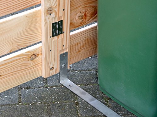2er Mülltonnenbox / Mülltonnenverkleidung 240 L Holz, Deckend Geölt Anthrazit Grau - 6