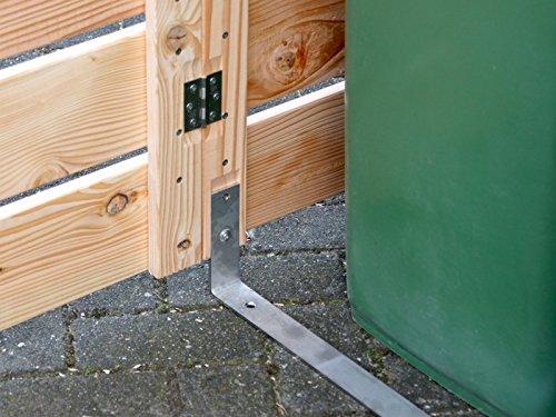 2er Mülltonnenbox / Mülltonnenverkleidung 120 L Holz, Transparent Geölt Grau - 6