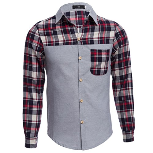 Men's Cotton Plaid Patchwork Slim Fit Long Sleeve Casual Shirts gray and red 1