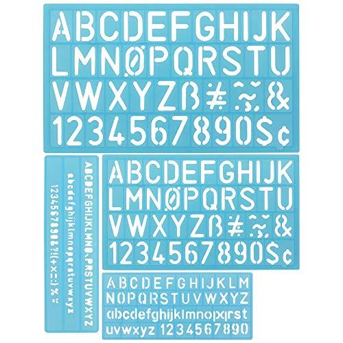 DECARETA 4 PCS Zeichnungsvorlagen, Kunststoffvorlagen Zeichnungsvorlagen für Jungen, Zahlen, Buchstaben, mathematische Symbole und Scores, Spaß zu Lernen - Blau - Symbol Spas
