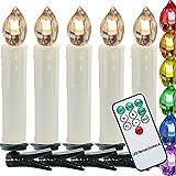 VINGO 50er LED Weihnachtskerzen Set LED Kerzen Kabellose Weihnachtskerzen Buntlicht RGB inkl Fernbedienung Christbaumkerzen mit Timerfunktion Weihnachtsbaumbeleuchtung für Party Hochzeit Geburtstags