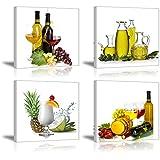 Piy HD vino y frutas lienzo, 4piezas Cuadros en lienzo para comedor/cocina (1'de grosor, resistente al...