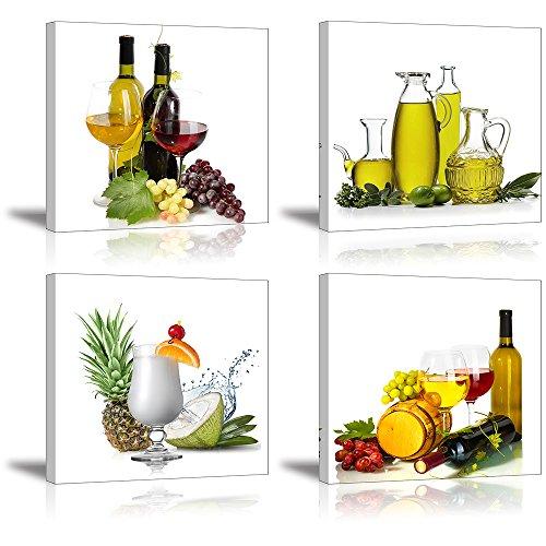 Piy HD vino y frutas lienzo, 4piezas Cuadros en...