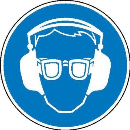 Gehör- und Augenschutz benutzen Gebotsschild auf Bogen, Folienetik, gest, 5cm