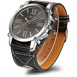 Longqi Unisex Quartz Leather Wristwatch Fashion Roman Scale Watches