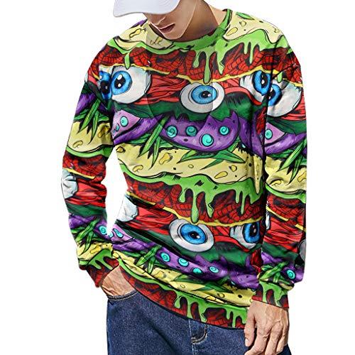 Xmiral Sweatshirt Herren 3D Drucken Lange Ärmel Sportbekleidung mit Rundhals Herbst Outdoor Tops Sports Pullover Oberbekleidung(S Gelb,L) -