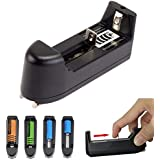 SUPERMALL SINGLE-SLOT UNIVERSAL BATTERY CHARGER FOR 18650 16340 14500 LI-ION RECHARGEABLE BATTERY INDIAN PLUG BLACK