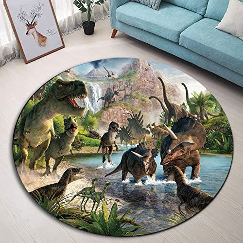Lb dinosauro tappeto rotondo animale antico,lago,montagna,foresta tropicale tappeto rotondo lavabile morbido tappeto zerbino tappetino per soggiorno camera da letto per bambini,diametro 120cm