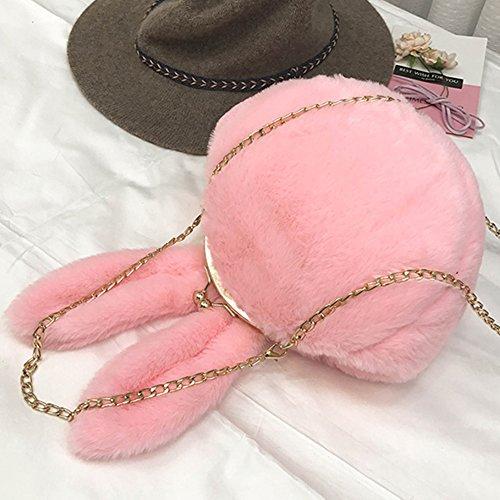 Bluelans carino orecchie da coniglio peluche frizione spalla tracolla donna catena borsetta, Khaki, taglia unica Pink