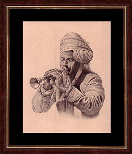 """Splendid Indian Art 19. Jahrhundert realistischen \""""traditionelle Musiker Indiens - Shehnai \'indische Miniaturmalerei auf Bütten mit natürlichen Farben"""
