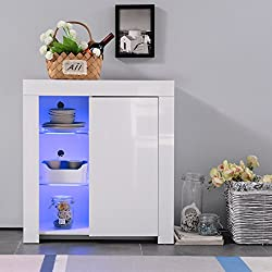 Mecor High Gloss Sideboard Storage Cabinet with RGB LED Lighting for Living Room Dining Room Furniture Cupboard in White Matt (White 1 Door)