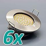 6x MODERNE 5W - 500lm LED Einbaustrahler FLACH Einbauspot Einbauleuchte Spot Deckenspot Schutzglas Deckenstrahler Deckeneinbaustrahler Deckenspot