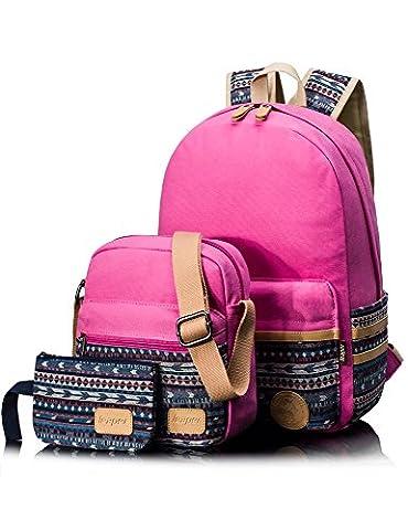 Leaper Sac à dos scolaire 3 en 1 Cartable fille Sac d'école 3 pièces Sac porté dos Shoulder messenger Portefeuille Trousse Cross body bag rose