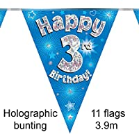 Happy 3rd Birthday Blue Holographic Foil Party Bunting