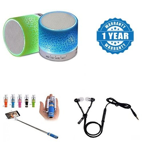 Drumstone Plastic & Metal Colorful LED Light Crack Pattern Mini Stereo Portable Wireless Bluetooth Speaker Selfie Sticks (Colour May Vary)