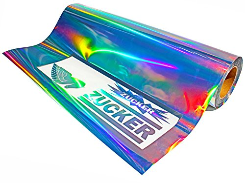 Finest-Folia Clear Back Plottfolie Oilslick (11,94/m²) Hologramm Silber Glitter Effekt Folie Plotterfolie (1 Meter, 31)