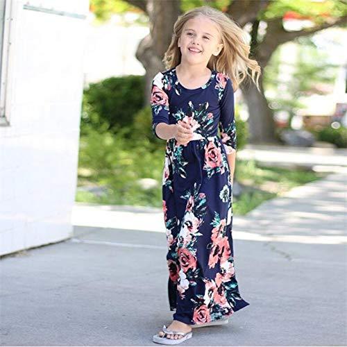 XGDLYQ Kleidung Mutter Tochter Stil Blumendruck Strandkleid Tunika Mama und ich Kleider Passende Familien Outfits 6 T Marineblau -