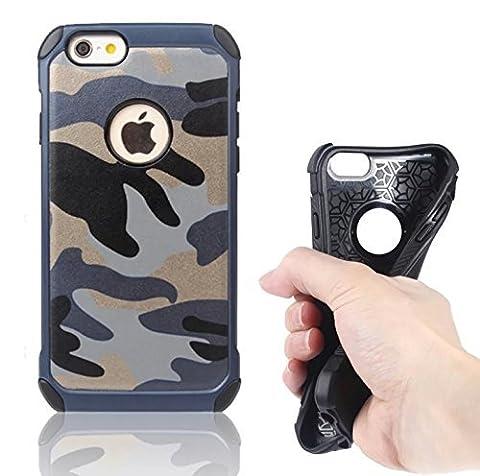 Deet® iPhone 66S Armée Coque [Shock Absorption + chute Protection] Camouflage hybride double couche rigide entièrement Protection arrière rigide en TPU souple interne avec arrière en silicone–Bleu