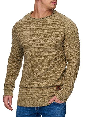 TAZZIO Herren Styler Strick-Pullover 16479 Bison