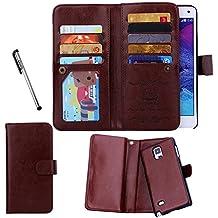 Urvoix portafoglio/custodia per Samsung Galaxy Note 4, flip a portafoglio in pelle con vani per carte di credito. Cover posteriore 2in 1removibile e magnetica per Galaxy Note 4N9100 Brown