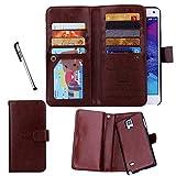 Étui Porte-cartes en cuir Urvoix pour Samsung Galaxy Note 4, Portefeuille, 2en 1amovible magnétique Coque arrière pour Galaxy Note4N9100 marron