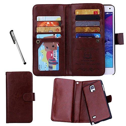 Per Samsung Galaxy Note 4, Urvoix (TM)-Custodia Flip a portafoglio in pelle con porta carte di credito, 2 in 1, Cover magnetica removibile, per Galaxy Note4 N9100 marrone