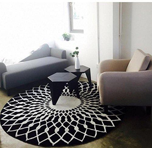 wly&home Noir et Blanc Ronde Salon Table Basse Grand Tapis Étage Chambre Mats (Couleur: Noir Blanc, Taille: 160cm), 160cm