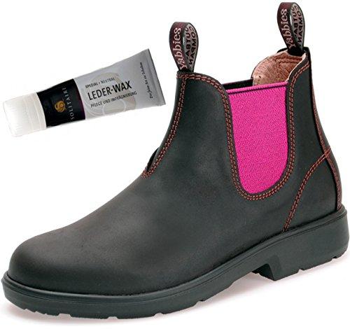Yabbies for Kids Leder Boots Schuhe für Kinder Stiefelette - Dark Brown/Pink + Lederwax von Solitaire (UK 01 / EU 33) -