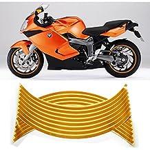 HuntGold - Pegatinas reflectantes para neumáticos (2 unidades, 16 tiras), color amarillo