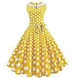 ZEZKT Audrey Hepburn 50s Retro Vintage Rockabilly Kleid, Elegant Armelloses Prinzessin Kleid Swing Abend Party Retro Brautjungfern Rundhals V Ausschnitt Festlich Kleid (S, Gelb)