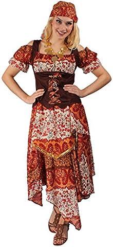 Zigeunerin Kostüm-Set in Rot-Braun für Damen | Größe 38 | 3-teilige Gypsy Verkleidung für Karneval & Fasching | Tänzerinnen-Outfit für Kostümparty & Motto-Party | Hellseherin & (Kühle Halloween-kostüme 2016)