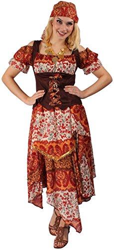 Zigeunerin Kostüm-Set in Rot-Braun für Damen | Größe 38 | 3-teilige Gypsy Verkleidung für Karneval & Fasching | Tänzerinnen-Outfit für Kostümparty & Motto-Party | Hellseherin & (Wahrsagerin Halloween Ideen Kostüm)