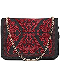 Toniq Faux Leather Black Embroidered Sling Bag