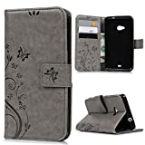 Lanveni® PU Ledertasche Drucken Hüllen für Microsoft Lumia 535 Case Flip Cover Telefon-Kasten Handyhülle Bookstyle Wallet Brieftasche Card Slot Handycase Grau