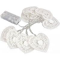 LED Luz - SODIAL(R)10 LED Amor corazon Luz de hadas de cadena Decoracion de Fiesta Boda Dormitorio Blanco calido
