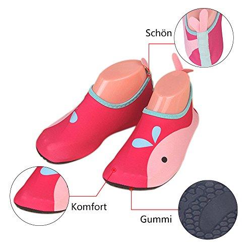 JACKSHIBO Unisex-Kinder Wasserschuhe Jungen Strandschuhe Aqua Schuhe Mädchen Schwimmschuhe Surfschuhe Badeschuhe Rosa