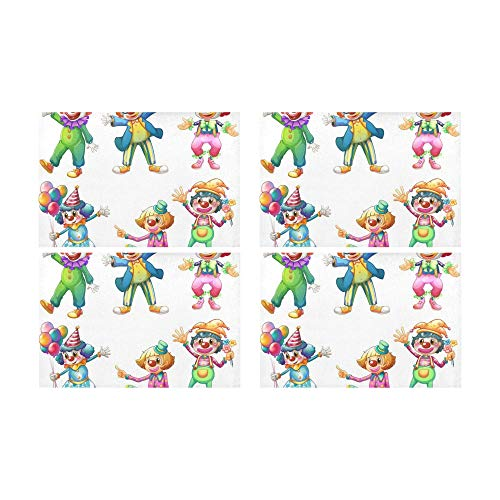 Narr Kleinkind Kostüm - Plosds Lustige Zirkus Narr Clown Küche gedruckt fleckabweisend Wärmedämmung waschbar quadratische Tischset Tischset für Baby und Frauen runden Esstisch 12